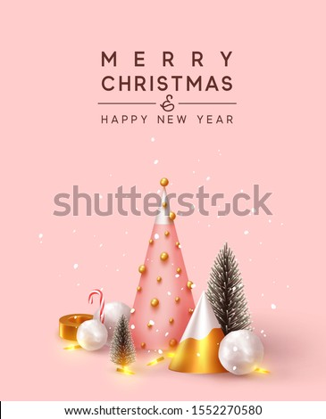 Abstract minimal background with 3D Christmas trees. New Year cone shape trees. Xmas decorative ornaments, realistic render objects. Design Greeting card, Christmas background, poster, banner. #1552270580