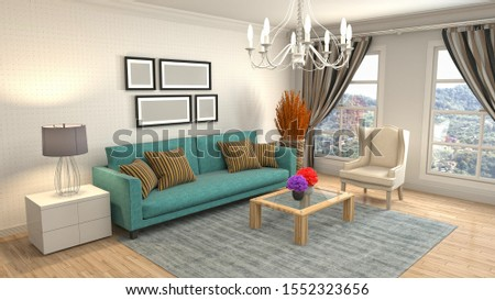 Interior of the living room. 3D illustration. #1552323656