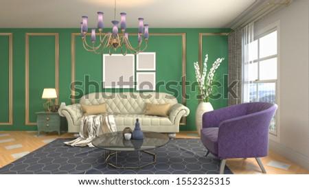 Interior of the living room. 3D illustration. #1552325315