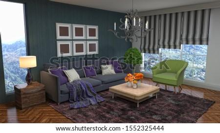 Interior of the living room. 3D illustration. #1552325444
