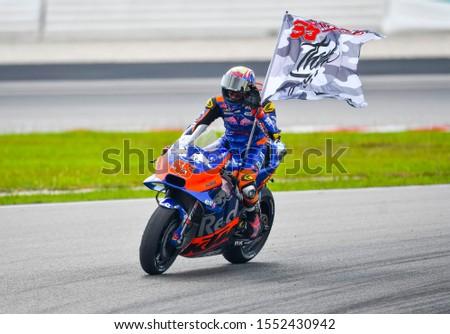 SEPANG, MALAYSIA - NOVEMBER 03, 2019 : Hafizh Syahrin of Red Bull KTM Tech 3 Team (55) during the Malaysia Motorcycle Grand Prix (MotoGP) at Sepang International Circuit (SIC). #1552430942