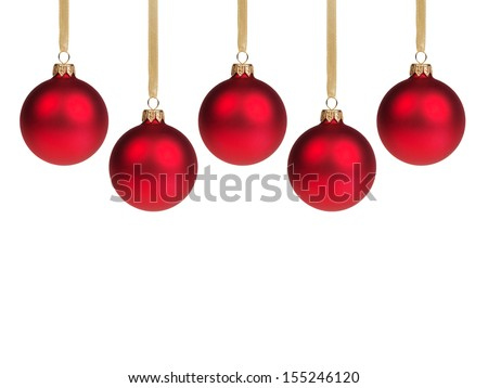 red christmas balls, with white background