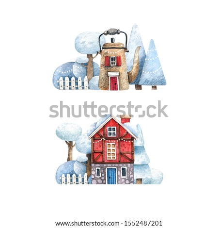 Set of watercolor winter rural houses. Bright hand-drawn houses in the snow and snow-covered trees. Illustrations for cards, souvenirs and gifts.
