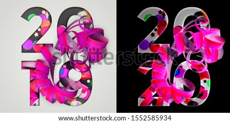 Happy New Year, 2019, 2020. Holiday event sign. Creative typography with colorful streamers. Chapter in presentattion. Calendar design. Festive banner or cover design. Illustration. #1552585934