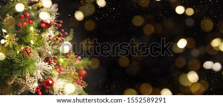 2020 Merry Christmas and New Year holidays background. Blurred bokeh background #1552589291