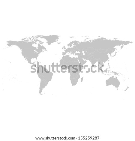 Grey Political World Map Illustration Royalty-Free Stock Photo #155259287