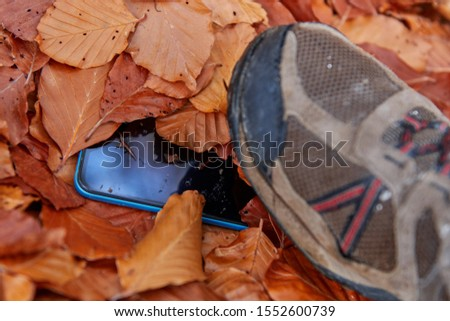 Mobile lost in the middle of the autumn leaves, blue mobile, covered with brown leaves, is trodden by someone since it is dirty, and in the photo you can see the shoe #1552600739