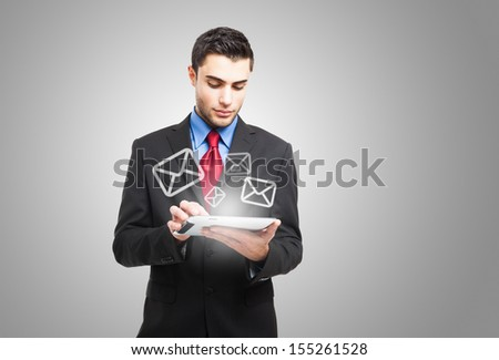 Communication, email and technology concept Royalty-Free Stock Photo #155261528