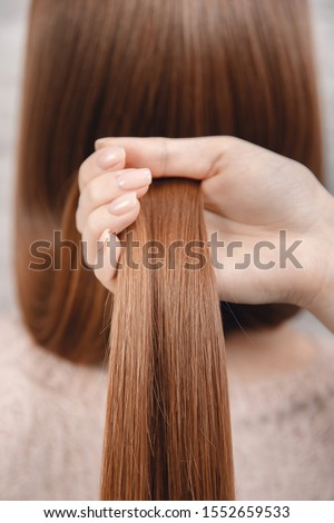 Sick, cut and healthy hair care straightening. Before and after treatment. #1552659533
