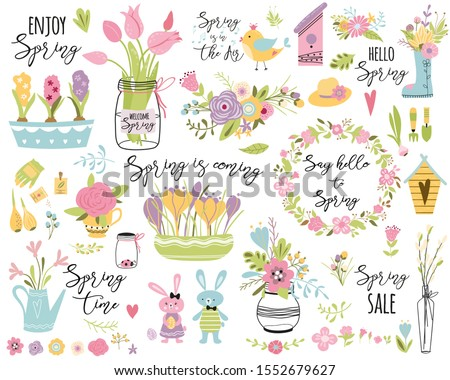 Spring set Cute hand drawn elements Spring clip art Spring quotes phrases. Decorative flowers bouquet, branch bird wreath Easter rabbit egg Collection for print poster label sticker kit illustration