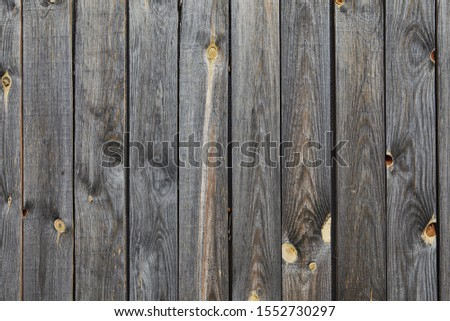 Wooden wall texture of an old barn from faded and weathered gray pine boards with a knotted surface, abstract background. #1552730297
