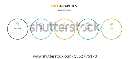 Infographic business concept design with icons and 5 options or steps. Thin line vector. Can be used for flow charts, presentations, web sites, banners, printed materials. EPS 10 #1552795178