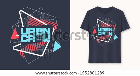 Urban crew abstract geometric graphic t-shirt vector design, typography. Royalty-Free Stock Photo #1552801289