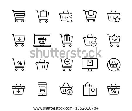 Set icons of shopping baskets and carts Collection of icons for the store such as carts and shopping baskets mobile and online store etc Editable vector stroke 96x96 Pixel Perfect. #1552810784