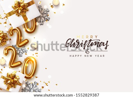 Gold 2020 Happy New Year. Decorative Christmas Ornament, realistic gift boxes, 3d snowflake, Xmas ball, lush pine tree. Glitter golden confetti, old clock. Holiday decoration. Decor Border from object #1552829387