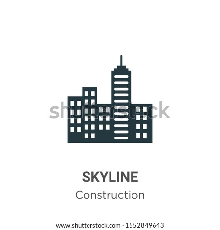 Skyline vector icon on white background. Flat vector skyline icon symbol sign from modern construction collection for mobile concept and web apps design. Royalty-Free Stock Photo #1552849643