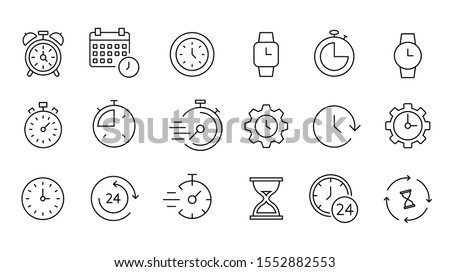 Time and clock icon set, timer, speed, alarm, restore, management, calendar, watch thin line symbols for web and mobile phone on white background - editable stroke vector illustration eps10 #1552882553