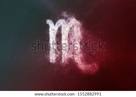 Scorpio Zodiac Sign White Red. Night sky Abstract background