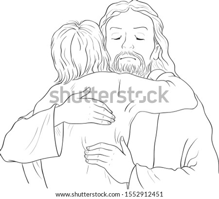 Jesus hugging child black and white image. Vector cartoon christian coloring page. Also available colored version
