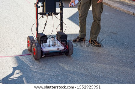 The GPR is a noninvasive method used in geophysics. It is based on the analysis of electromagnetic waves transmitted into the ground reflections. Royalty-Free Stock Photo #1552925951