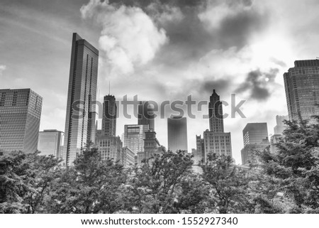 Skyline of Chicago, b/w picture.
