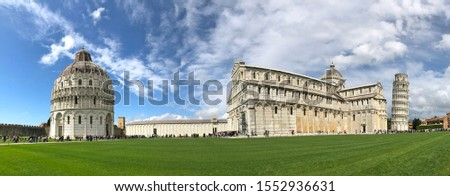 Piazza dei Miracoli or Piazza del Duomo, an architectural complex including the Leaning Tower, Cathedral, and Baptistry of Pisa, Tuscany, Italy #1552936631