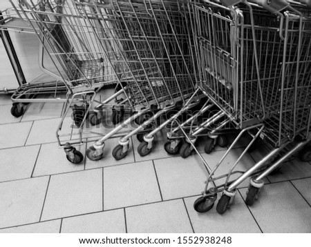 Carts in the supermarket. Carts are grocery. #1552938248