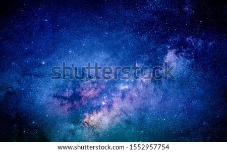 Milky way in the galaxy. Fill with stars 100,000-120,000 light years in diameter, it is home to planet Earth, the birthplace of humanity. Clearly milky way found in Thailand. #1552957754