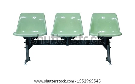 Front View of Plastic Chairs Isolated on White Background with Clipping Path #1552965545