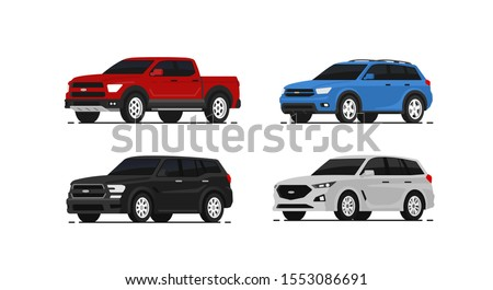 Car suv collection. Auto side view. Red, blue, black and white automobile. Vector illustrayion in flat style. Royalty-Free Stock Photo #1553086691