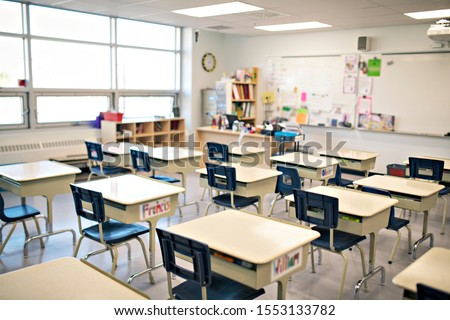 classroom of a daycare center without children and teacher Royalty-Free Stock Photo #1553133782