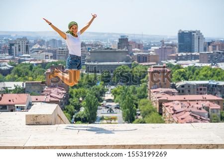 happy tourist visiting Yerevan city, the capital of Armenia, Caucasus #1553199269