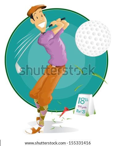 Retro Cartoon Golf Player