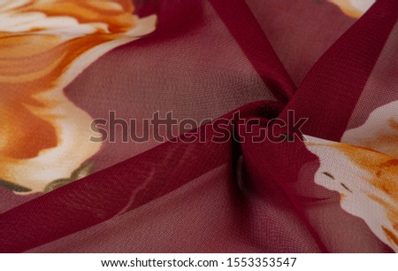 Texture, background, burgundy silk fabric with a pink floral print. Your projects are developed in our studio by designers who have deep knowledge in the use of their final product. #1553353547