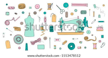 Color set of objects for sewing, handicraft. Sewing tools and kit and equipment, needle, sewing machine, sewing pin, yarn. vector set. #1553478512