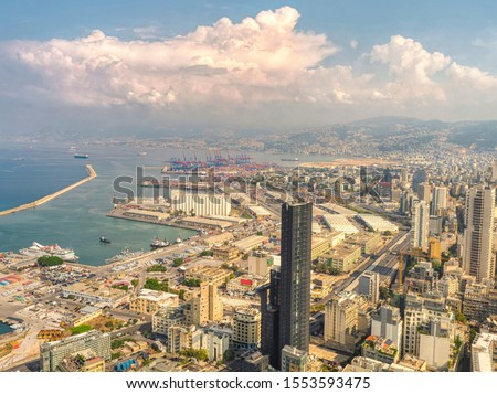 Aerial view of Beirut city, Lebanon; Drone shot of beirut and Port of beirut  Royalty-Free Stock Photo #1553593475