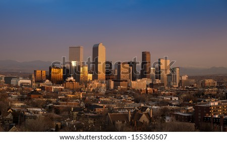 Denver Winter Skyline With Rocky Mountains at Sunrise