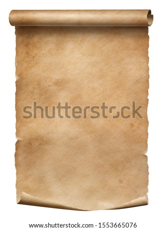 Old worn paper scroll isolated on white with dirty spots #1553665076
