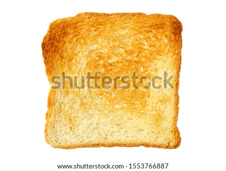 Toast slice isolated on white. Close-up of toast, top view. Toast isolated on white. Single slice of lightly toasted white bread. Sliced Toast Bread, top view. #1553766887