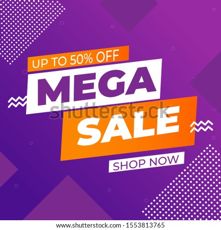 Mega Sale Discount Sale Banner Design Template. Illustration of Mega Sale Template for Website, Retail or Online Store. Vector #1553813765