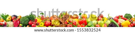 Seamless horizontal pattern bright colorful vegetables and fruits isolated on white #1553832524
