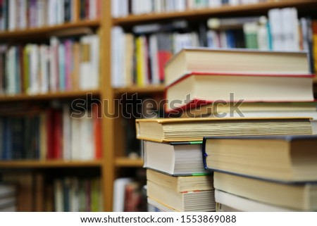 Stack of books in public library #1553869088