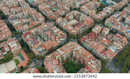 Aerial view. Overhead View of Barcelona Eixample. #1553873642
