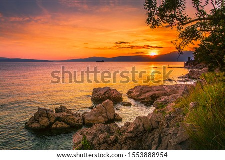 Croatia, Europe, Adriatic sea, Rijeka beach, Istria,  wonderful, morning sunrise view on rocky croatian coast, stunning, nature outdoor scenery, colorful summer seascape Croatia  wallpaper