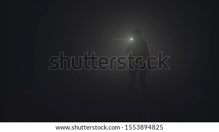 Silhouette of man in thick fog. Stock footage. Black silhouette of man with flashlight shining in thick grey smoke. Man with flashlight makes his way through darkness in smoke Royalty-Free Stock Photo #1553894825