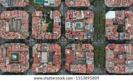 Aerial view. Overhead View of Barcelona Eixample. #1553895809
