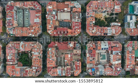 Aerial view. Overhead View of Barcelona Eixample. #1553895812