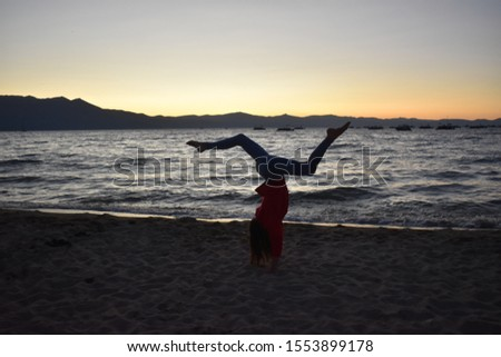 Sunset pictures of Lake Tahoe with gymnastics.