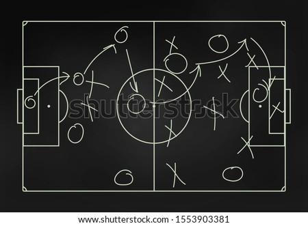 Football tactics on a blackboard - close-up #1553903381