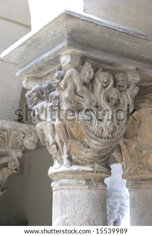 Detail, medieval capitals, carved columns,Cloisters,New York City #15539989